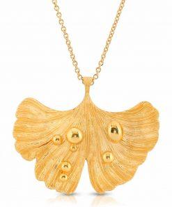 14K Gold Plated Pendant-Necklace Ginkgo Leaf After Rain
