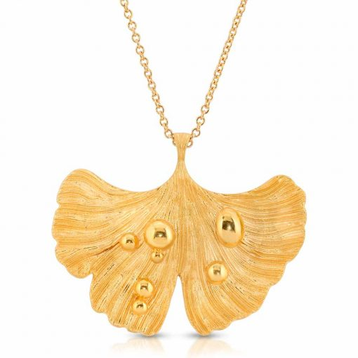 14K Gold Plated Pendant-Necklace Ginkgo Leaf After Rain