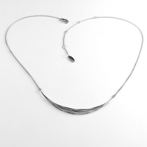 Twisted Collection Sterling Silver Twisted Swirl Necklace Rhodium plated Sku# N17007TWISLRH