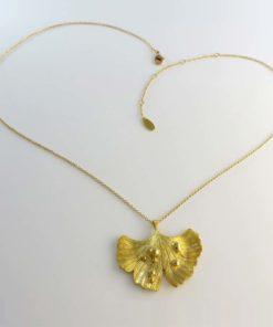 Ginkgo Leaf Pendant Necklace Gold Plated