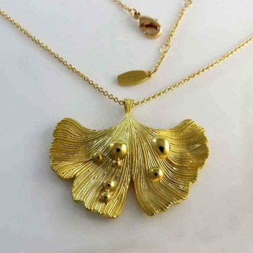 Ginkgo Leaf After Rain Collection 14K Gold Plated Style P17002GILBRGL