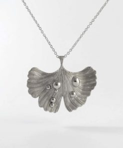 Ginkgo Leaf Pendant Necklace Rhodium Plated
