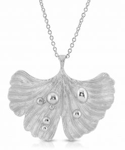 Rhodium Plated Pendant-Necklace Ginkgo Leaf After Rain