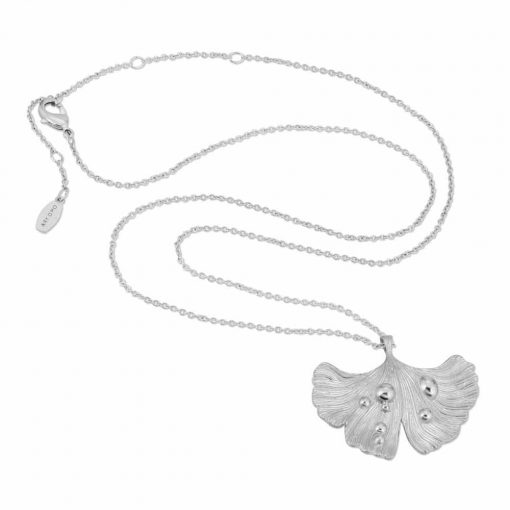 Ginkgo Leaf After Rain Necklace in silver