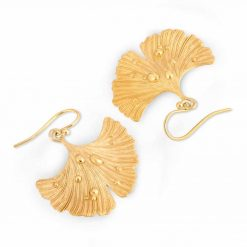 Ginkgo Leaf After Rain Earrings in gold