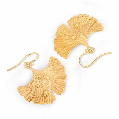 Ginkgo Leaf After Rain Earrings in gold