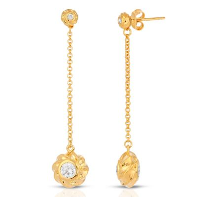 18K Gold over Sterling Silver Earrings with CZ Twisted Orbs