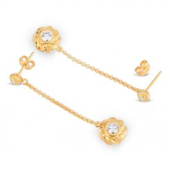 Twisted Orbs Sterling Silver Earrings in gold