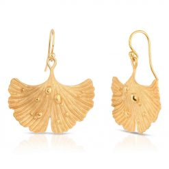 14K Gold Plated Earrings Ginkgo Leaf After Rain