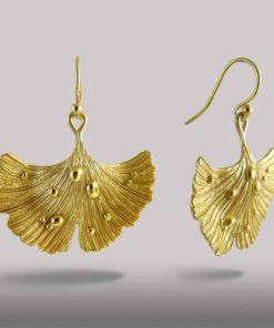 Ginkgo Leaf Earrings 14k Gold over Brass .925 Sterling Silver Hooks