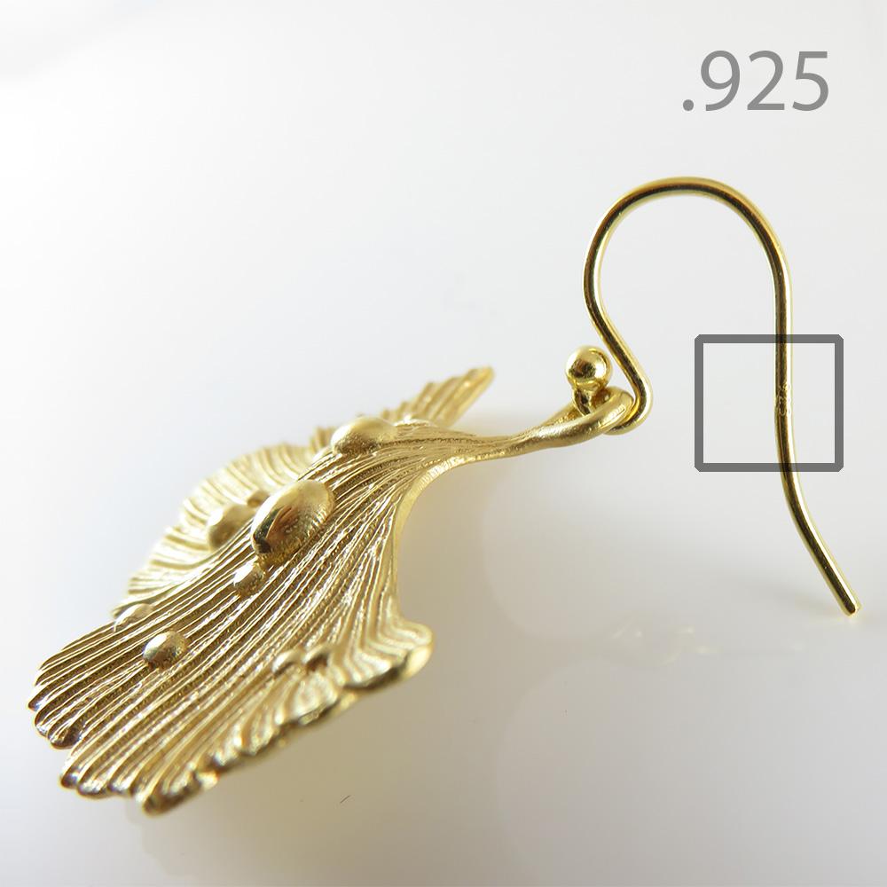Ginkgo Leaf Earrings 14k Gold over Brass .925 Sterling Silver Hooks