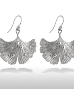 Ginkgo Leaf Earrings Rhodium Plated .925 Sterling Silver Hooks