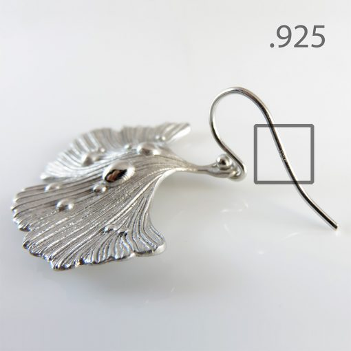 Ginkgo Leaf Earrings Rhodium Plated .925 Sterling Silver Hooks