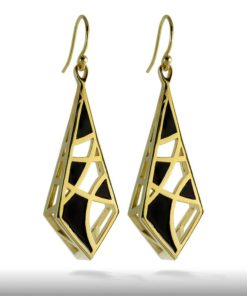 Black Enamel on Gold Dream Earrings, 14K Gold over Brass .925 Sterling Silver Hooks