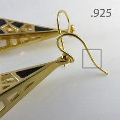 Black Enamel on Gold Dream Earrings, 14K Gold over Brass .925 Sterling Silver Hooks
