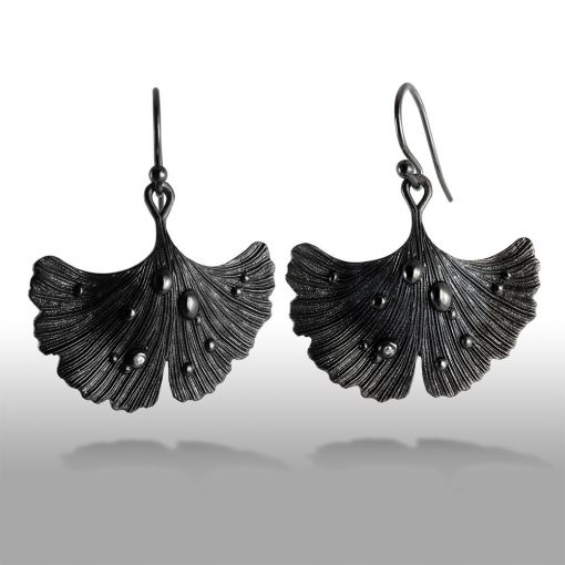 Black Ginkgo Leaf - Shiny Night Collection Earring Jet Black Rhodium Over Brass • Shiny crystal on each