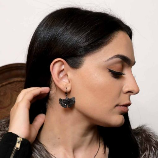 Ginkgo Leaf - Shiny Nights Collection Earring Jet Black Rhodium Over Brass • Shiny crystal on each