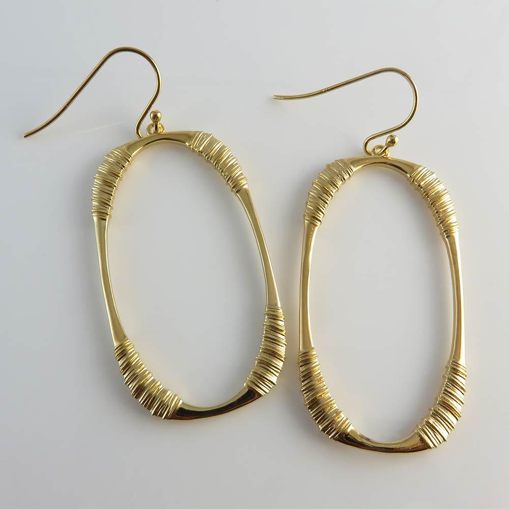 Oval Hoops 18k Gold .925 Sterling Silver Hooks