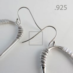 Oval Hoops Rhodium with sterling silver hooks