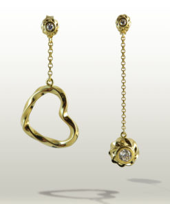 Twisted Collection Twisted Heart and Orb Earrings 18K Gold Over Sterling Silver