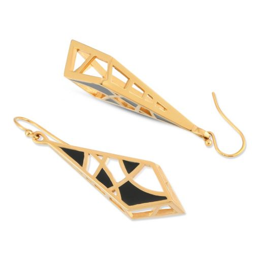 Dream Black Enamel on Gold Geometrical Earrings