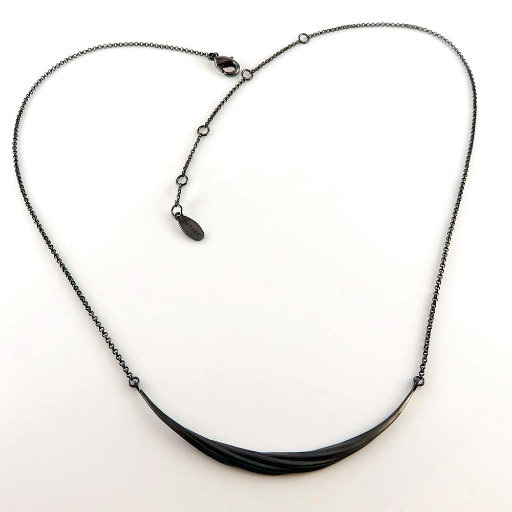 Twisted Collection Twisted Swirl Pendant Necklace Jet Black Rhodium over Sterling Silver