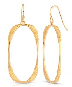 Oval Hoop Earrings 18K Gold Plated