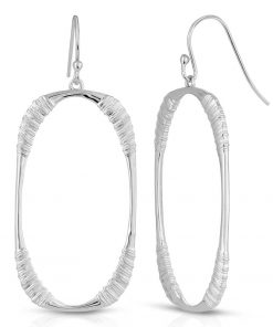 Oval Hoop Earrings Rhodium Plated