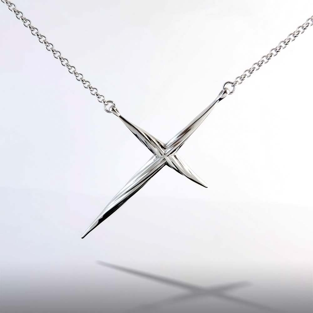 Twisted Cross Necklace Pendant Sterling Silver Rhodium Plated
