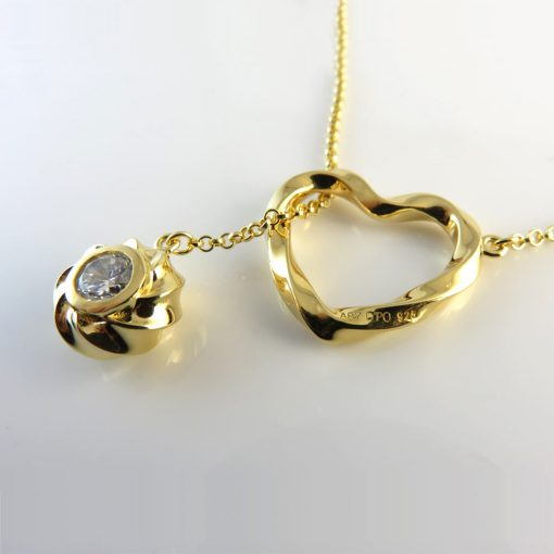 Twisted Heart And Orb Pendant Necklace 18K Gold Over Sterling Silver