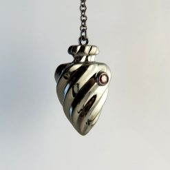 Twisted Heart And Arrowhead Pendant Necklace Rhodium and Jet Black Rhodium Over Sterling Silver and 2 Red CZ