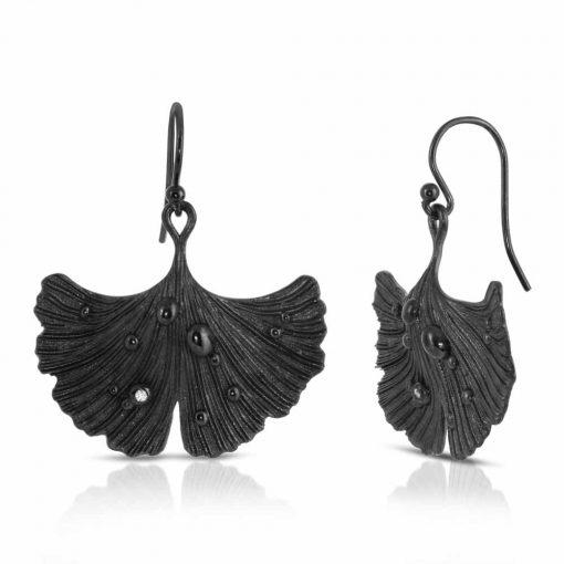 Rhodium Plated Earrings Black Ginkgo Leaf Shiny Nights