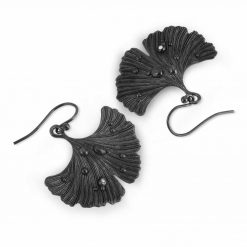Black Ginkgo Earrings