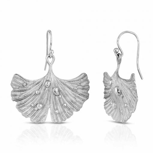 Rhodium Plated Earrings Ginkgo Leaf After Rain