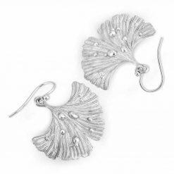 Ginkgo Leaf After Rain Earrings in silver