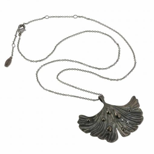 Rhodium Plated Pendant-Necklace Black Ginkgo Leaf