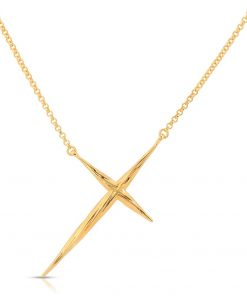 Twisted Cross Necklace 18K Gold over Sterling Silver