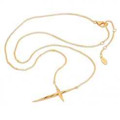 Twisted Cross Necklace in gold