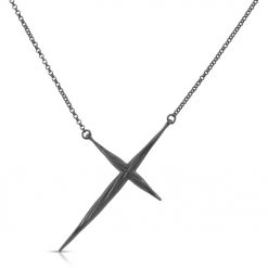 Twisted Cross Necklace Black Rhodium Plated
