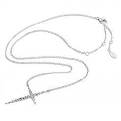 Twisted Cross Necklace Rhodium over Sterling Silver