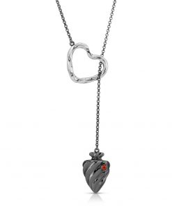 Twisted Heart & Arrow Necklace Rhodium over Sterling Silver