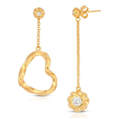 Twisted Heart & Orb Earrings 18K Gold over St. Silver with CZ