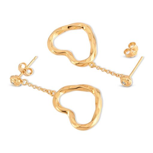 Twisted Hearts Earrings 18K Gold Over Sterling Silver with CZ