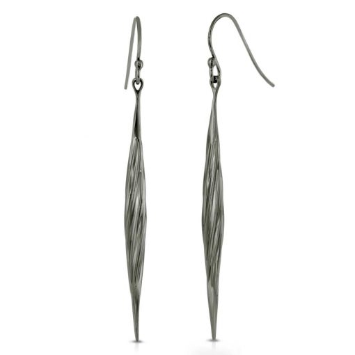 Twisted Swirl Earrings Black Rhodium Plated