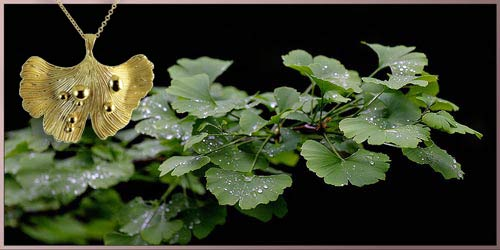 Ginkgo leaf after rain gold pendant necklace designer jewelry by ARY D'PO presented next to the ginkgo tree green leaves with water droplets after rain