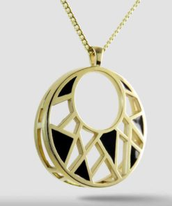 Black Enamel on Gold Dream Pendant Necklace, 14K Gold over Brass Style P17009DRMBRGL