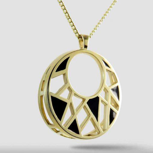 Black Enamel on Gold Dream Pendant Necklace, 14K Gold over Brass Style P17009DRMBRGL