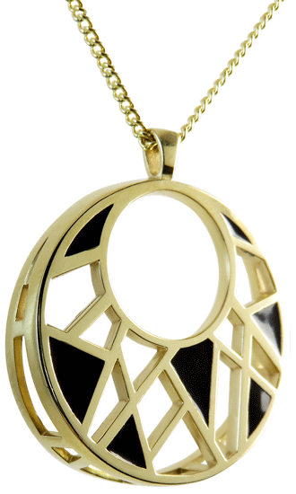 Dream Collection Pendant 14K Gold Plated with Black Enamel Style P17009DRMBRGL