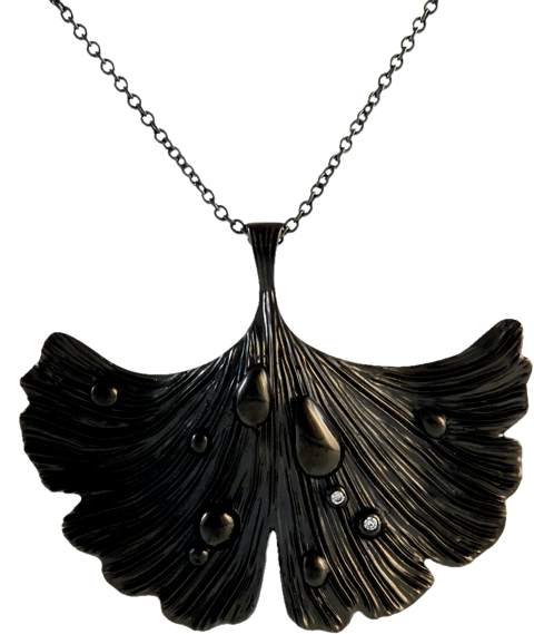 Ginkgo Leaf - Shiny Night Collection Pendant Necklace Jet Black Rhodium