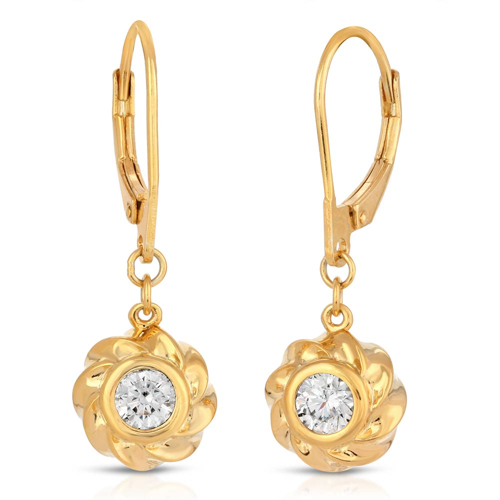 18K Gold over St. Silver Leverback Earrings Twisted Orbs